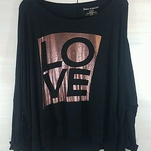 Juicy Couture Black Rose Gold LOVE shirt